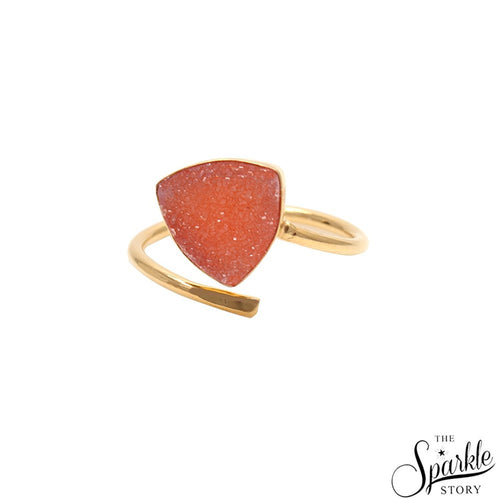 The Sparkle Story Peach Druzy Open Ring 10mm Trillion Shape Gold Adjustable Ring (DGPPE-12004)