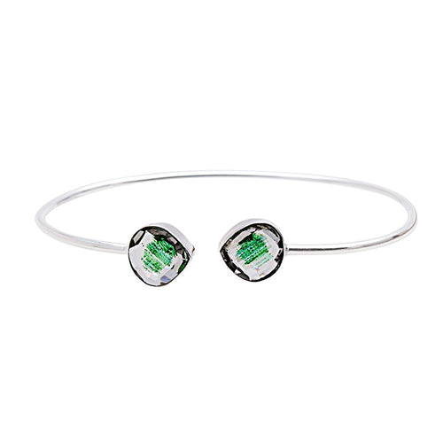The Sparkle Story Green Copper Infused Silver Plated Adjustable Bangle (DGIBA-19056)