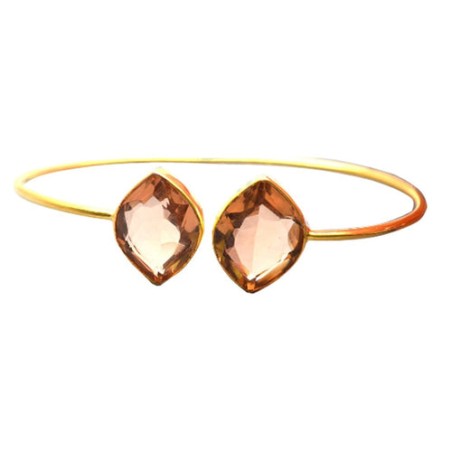 The Sparkle Story Morganite Marquise Shape Gold Adjustable Bangle (DMRBA-19023)