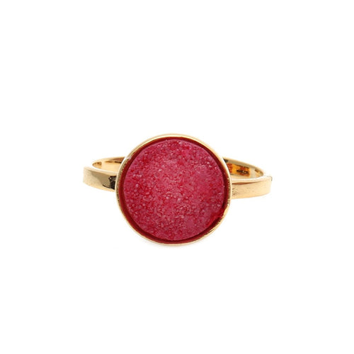 The Sparkle Story Red Druzy Round 12mm Gold Plated Adjustable Fashionable Ring (DZRRG-12009)