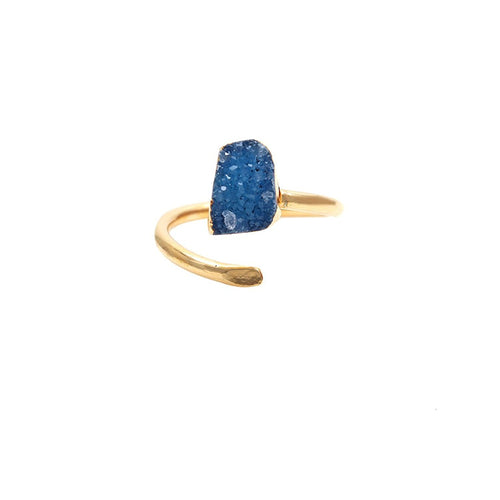 The Sparkle Story Blue Druzy Gold Plated Adjustable Ring (DDCRG-12036)