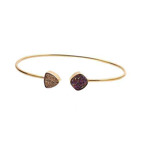 The Sparkle Story Golden & Purple Druzy Trillion & Cushion Adjustable Gold Bangle (DDSBA-19012)