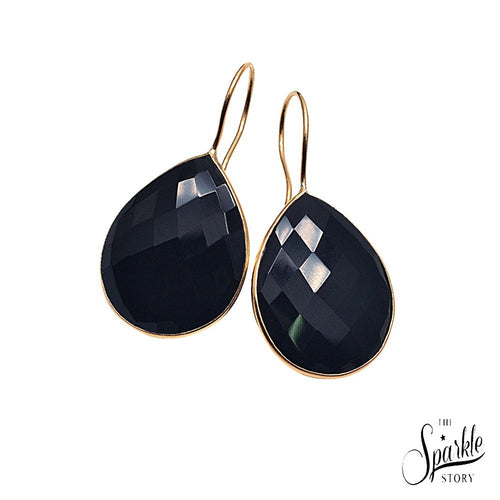 The Sparkle Story Black Onyx Pears Shape Gold Plated Hook Earring (DBOER-90010)