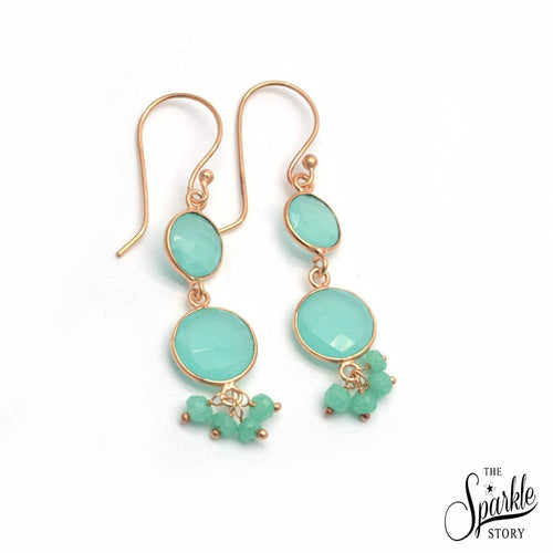 The Sparkle Story Aqua Chalcedony Gold Plated Hook Earring (DADER-90001)