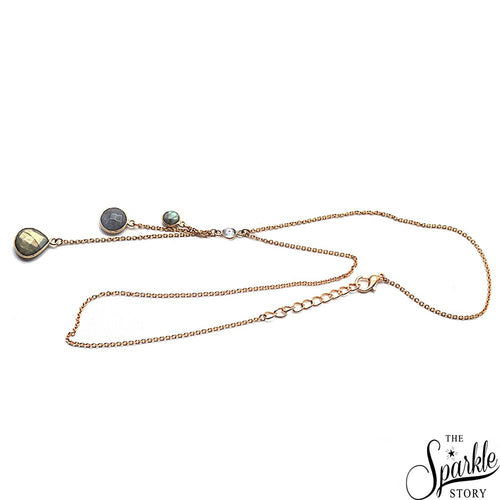 The Sparkle Story Labradorite Gold Plated Necklace Chain (DNC-16016)