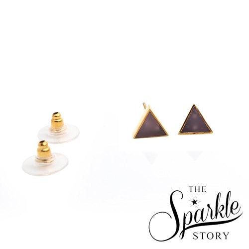The Sparkle Story Rose Chalcedony Gold Plated Triangle Shape Stud & Earring (DRC-90024)