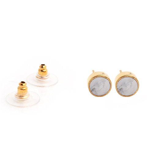 The Sparkle Story Howlite Gold Plated Round Shape Stud & Earring (DHW-90027)