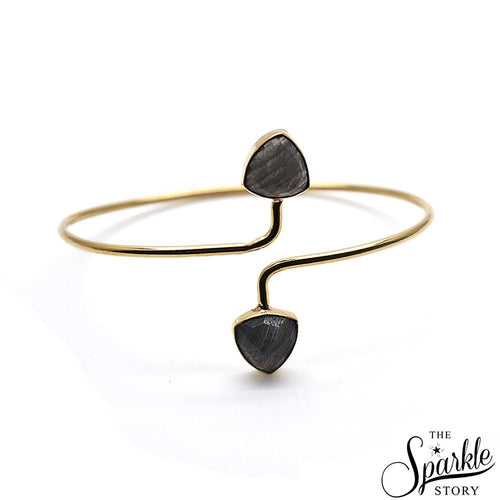 The Sparkle Story Labradorite Trillion Shape Gold Plated Adjustable Bangle (DLBBA-19038)
