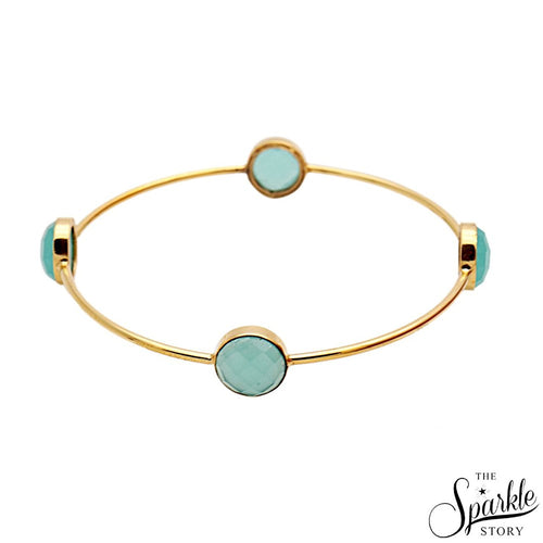 The Sparkle Story Beautiful Aqua Chalcedony Round 10mm Gold Plated Bangle (2-6 DADBA-19015)