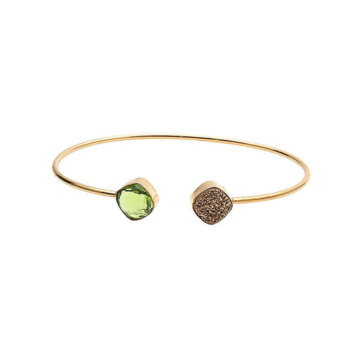The Sparkle Story Golden Druzy & Peridot Cushion Shape Adjustable Gold Plated Bangle (DDSBA-19007)