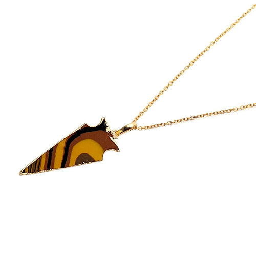 The Sparkle Story Multi Jasper Arrow Head Pendant 36x13mm Gold Plated 18' Inch Chain (DMJ-50062)