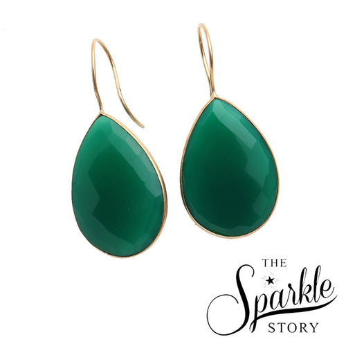 The Sparkle Story Green Onyx Pears Shape Gold Plated Dangle Earring (DGOER-90004)