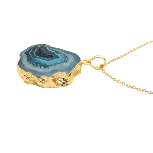 The Sparkle Story Green Color Druzy Pendant Gold Plated Necklace With 18' Inch Chain (DDP-50011)