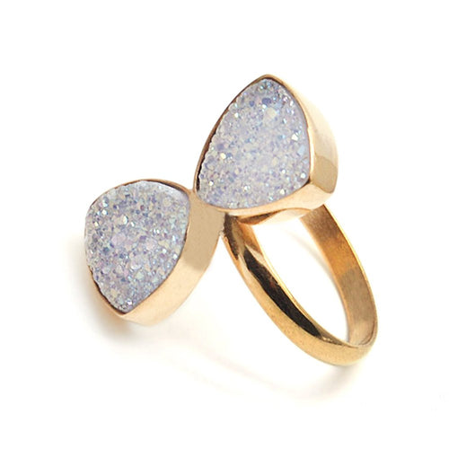 White Druzy Trillion Shape Double Stone Gemstone Druzy Statement Ring (DWZ-12001)