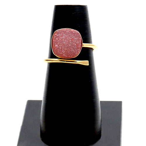 The Sparkle Story Peach Druzy Open Ring Cushion Shape Gold Adjustable Ring (DGPPE-12003)