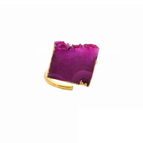Pink Druzy 13x15mm Gold Plated Adjustable Ring (DZPRG-12015)