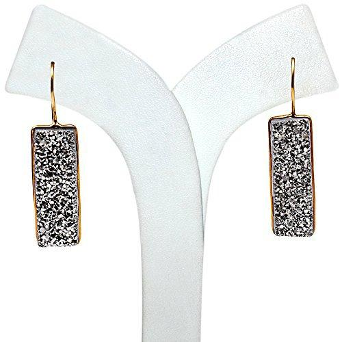 The Sparkle Story Silver Druzy Rectangle Shape Gold Plated Earring (DSZER-90242)