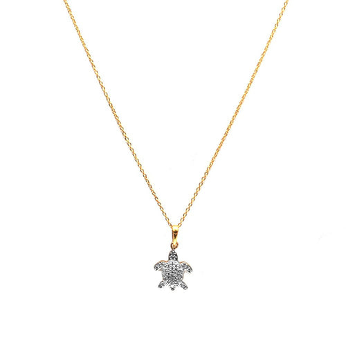 The Sparkle Story Beautiful CZ Tortoise Charm Fancy Necklace Pendant With Chain (DCHNC-16003)