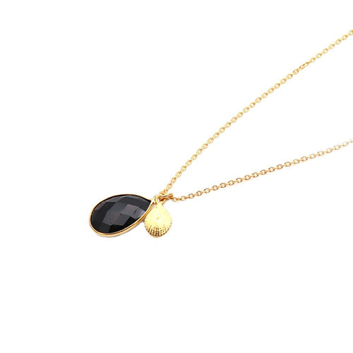 The Sparkle Story Black Onyx Pendant 13x20mm Gold Plated Necklace With 18' Inch Chain (DBONC-16003)