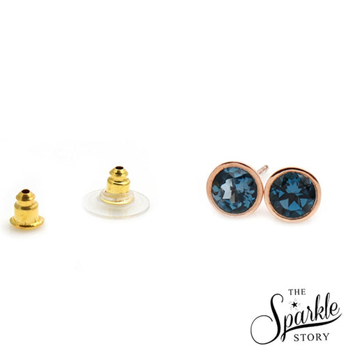The Sparkle Story London Blue Topaz Round Gold Plated Studs (DCPBT-90001)