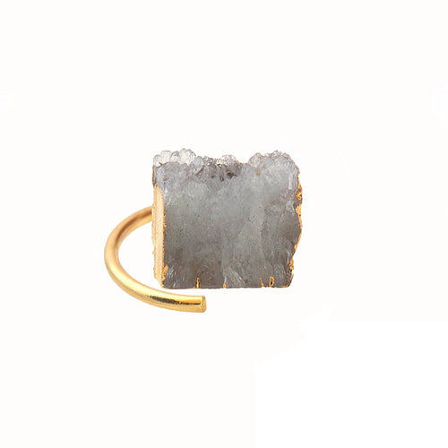 White Druzy 13x15mm Gold Plated Adjustable Ring (DWZRG-12015)