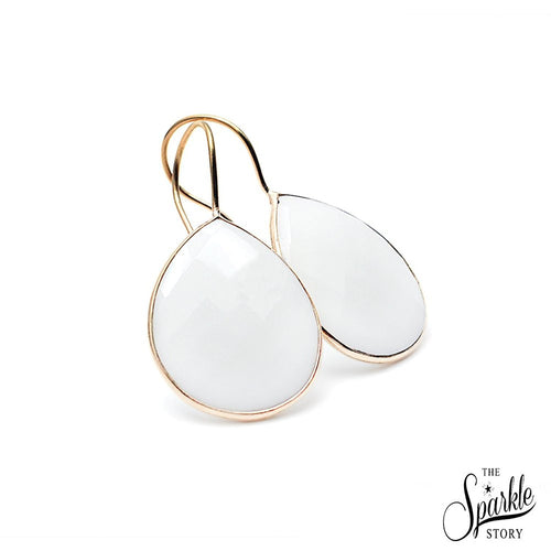 The Sparkle Story White Agate Gold Plated Hook Earring (DWAER-90010)