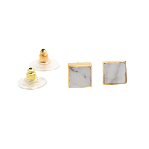 The Sparkle Story Howlite Gold Plated Rectangle Shape Stud & Earring (DHW-90022)