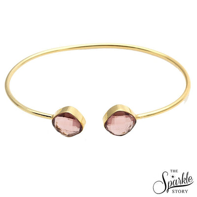 The Sparkle Story Morganite Cushion Shape Gold Adjustable Bangle (DMRBA-19047)