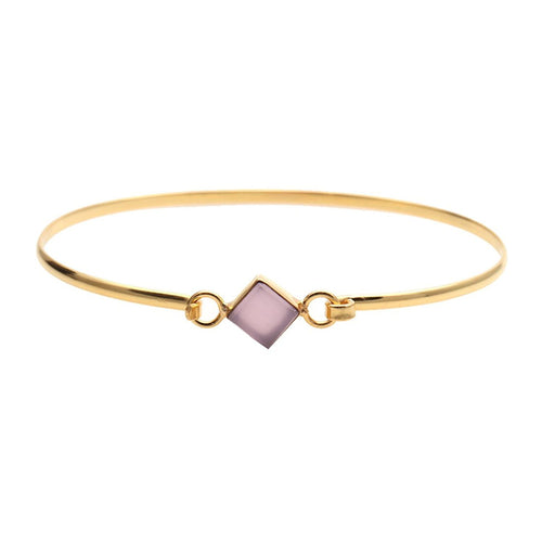 The Sparkle Story Rose Chalcedony Square Shape Gold Plated Openable Bangle (DRCBA-19052)