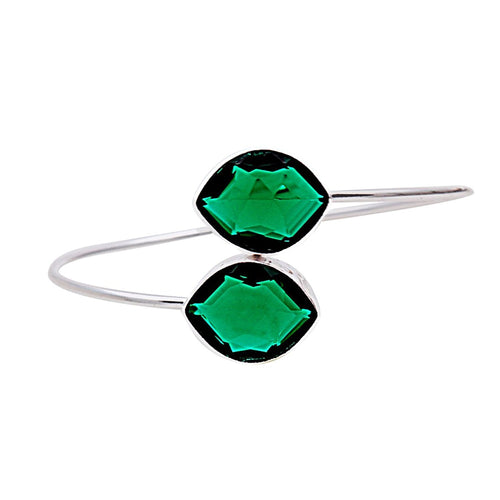 The Sparkle Story Hydro Emerald Marquise Shape Silver Plated Adjustable Bangle (DHEBA-19053)