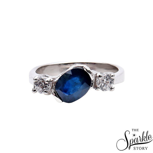 The Sparkle Story Sapphire Statement Sterling Silver Ring (DSS-12046)