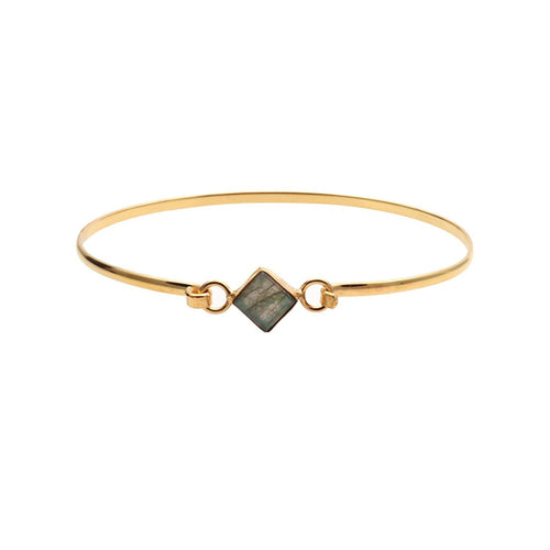 The Sparkle Story Labradorite Square Shape Gold Plated Openable Bangle (DLBBA-19052)