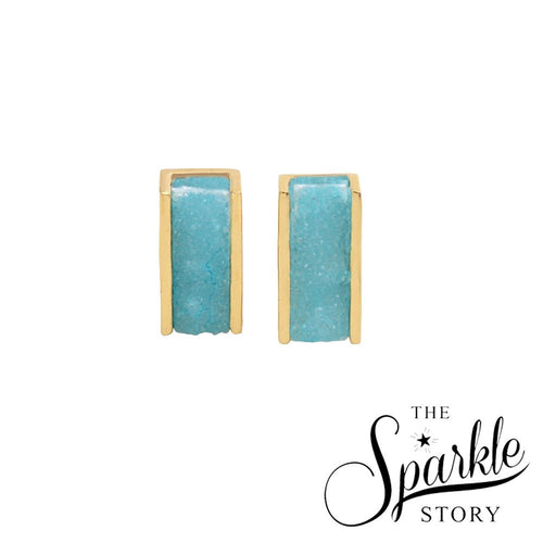 The Sparkle Story Light Green Druzy Gold Plated Rectangle Shape Stud & Earring (LG-90026)