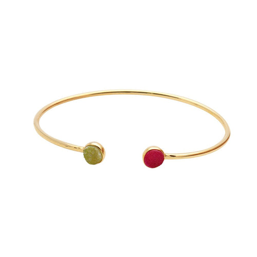 The Sparkle Story Pink & Lemon Druzy Round Shape Gold Adjustable Bangle (DDSBA-19023)