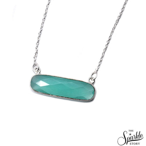 The Sparkle Story Aqua Chalcedony Silver Plated Necklace Chain With Charm