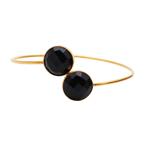 The Sparkle Story Black Onyx Round Shape Gold Plated Adjustable Bangle (DBOBA-19018)