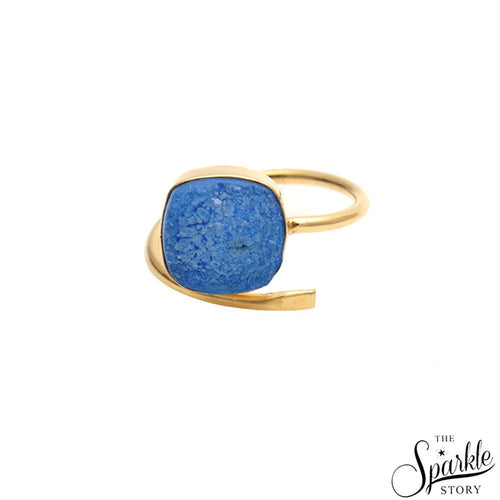 The Sparkle Story Blue Druzy Open Ring Cushion Shape Gold Adjustable Ring (DGPBZ-12003)