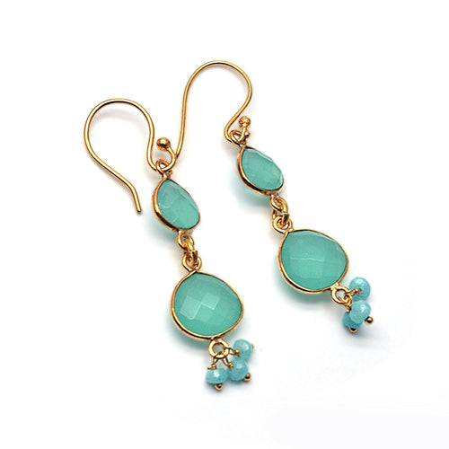 The Sparkle Story Aqua Chalcedony Gold Plated Hook Earring (DADER-90002)