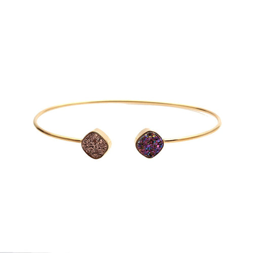 The Sparkle Story Purple & Rose Gold Druzy Cushion Shape Adjustable Gold Plated Bangle (DDSBA-19004)