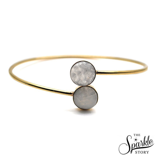 The Sparkle Story Rainbow Moonstone Round Shape Golden Interlock Bangle (DRMBA-19019)
