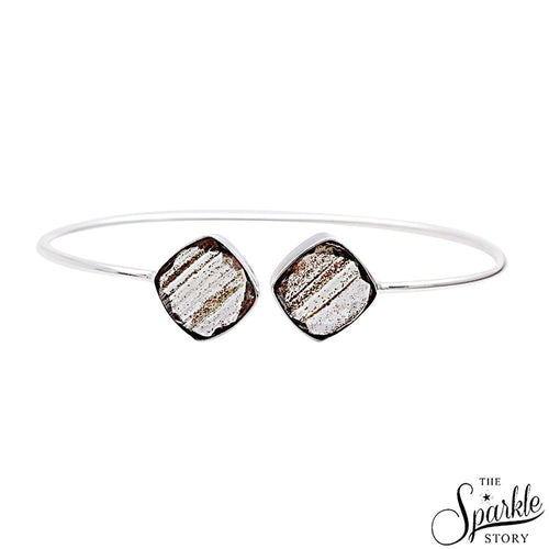 The Sparkle Story Copper Infused Cushion Shape Adjustable Silver Plated Bangle (DCIBA-19058)