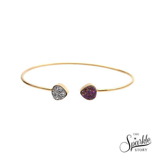 The Sparkle Story Purple & Silver Druzy Trillion Shape Adjustable Gold Plated Bangle (DDSBA-19005)
