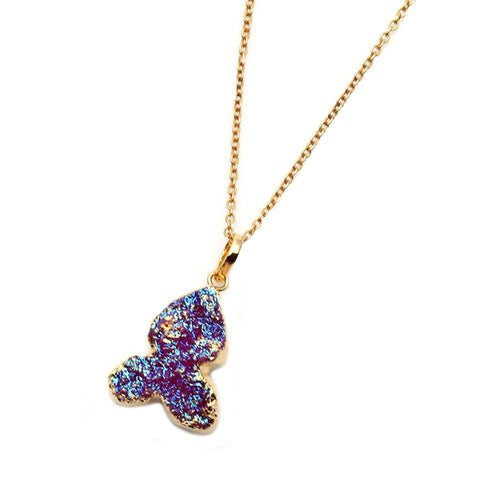The Sparkle Story Titanium Druzy Pendant Gold Plated Necklace With 18