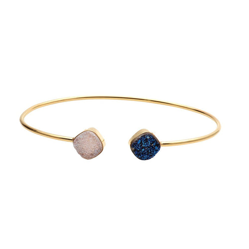 White & Blue Druzy 8mm Cushion Shape Adjustable Gold Plated Bangle