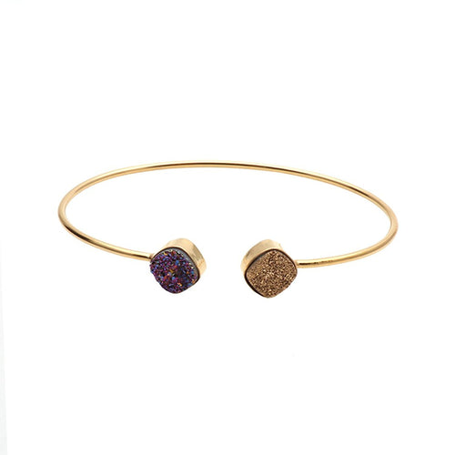 The Sparkle Story Golden & Purple Druzy Cushion Shape Adjustable Gold Plated Bangle (DDSBA-19010)