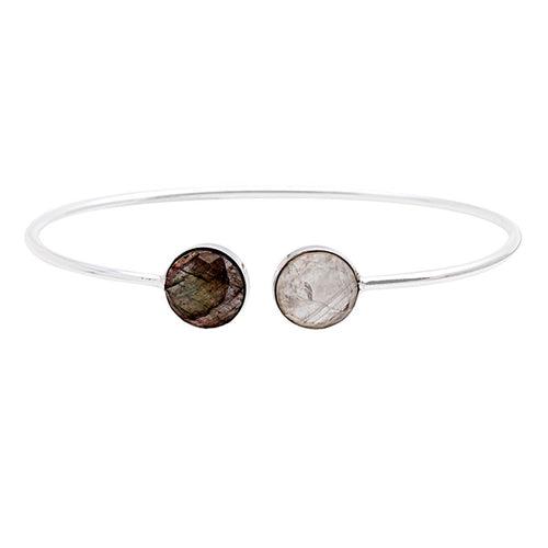The Sparkle Story Rainbow & Labradorite Round Shape Adjustable Silver Plated Bangle (DDSBA-19017)