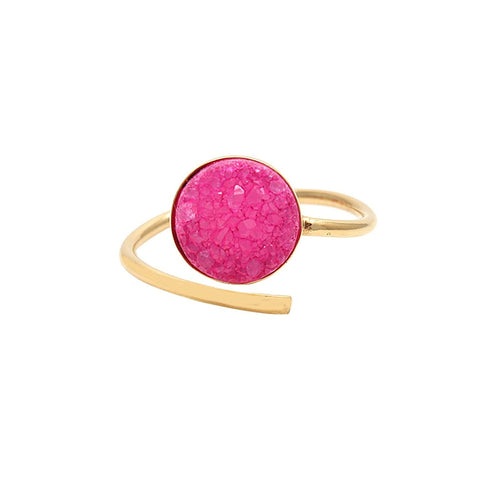Pink Druzy Round 10mm Gold Plated Adjustable Ring (DGPZP-12001)