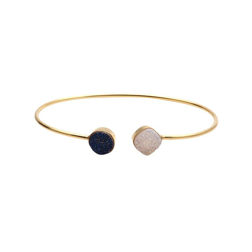 The Sparkle Story White & Blue Druzy Cushion & Round Adjustable Gold Plated Bangle (DDSBA-19015)