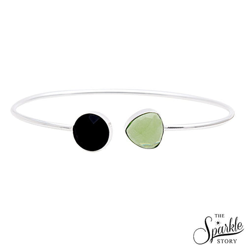 The Sparkle Story Green Chalcedony & Black Onyx Round & Trillion Adjustable Bangle (DDSBA-19002)