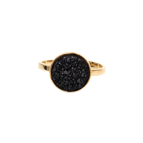 Black Druzy Round 12mm Gold Plated Adjustable Ring (DZBRG-12009)
